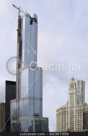 Chicago city view stock photo, city view of Chicago (USA) including the construction of a skyskraper by prill