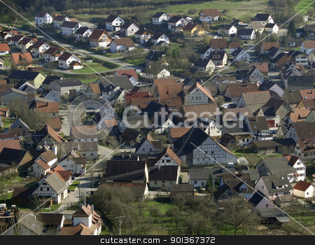 rural village stock photo, high angle shot of a rural village in Southern Germany by prill