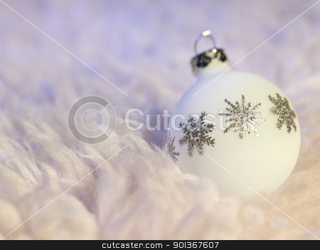 white Christmas bauble stock photo, Christmas bauble with metallic ornaments in fluffy back by prill