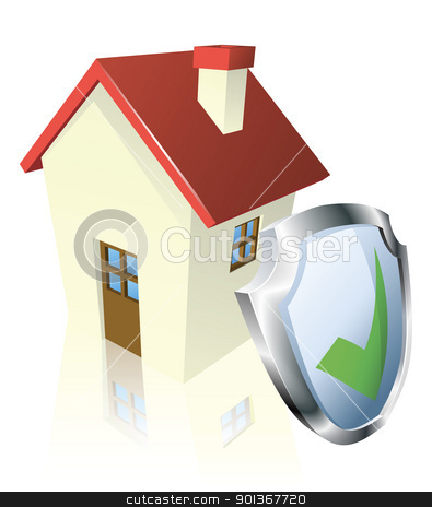 Secure house concept stock vector clipart, House with shield and green tick indicating it is insured, safe, or guaranteed by Christos Georghiou