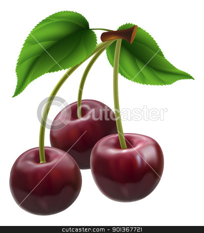 Bunch of three cherries stock vector clipart, Illustration of a bunch of three cherries by Christos Georghiou