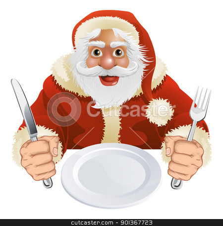 Santa Claus seated for Christmas Dinner  stock vector clipart, Illustration of Santa Claus seated for Christmas Dinner with empty plate and knife and fork by Christos Georghiou