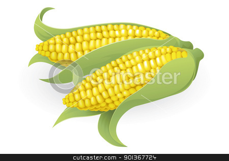 Tasty sweetcorn illustration stock vector clipart, An illustration of some fresh tasty sweetcorn by Christos Georghiou