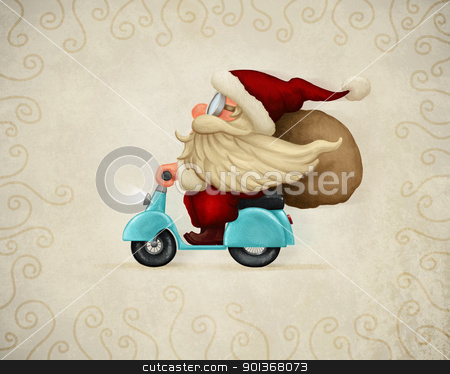 Motorized Santa Claus stock photo, Motorized santa Claus delivery the gifts by Giordano Aita