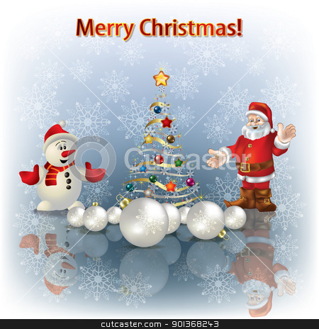 Christmas tree and Santa Claus stock vector clipart, Abstract greeting with Christmas tree and Santa Claus by Lembit