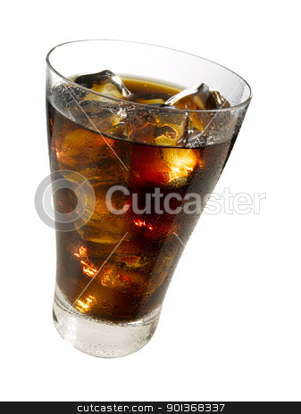 Glass of cola stock photo, Refreshing glass of cola with ice cubes by Han van Vonno