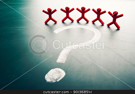 Business team face question mark stock photo, Business team face a big question mark. by Lawren
