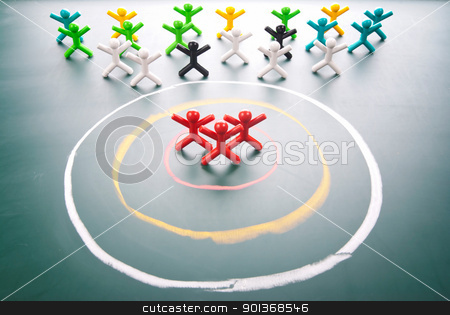 Target your customers. stock photo, Target concept. People be selected in the center of circle. by Lawren