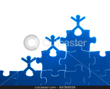 Team work on solving puzzle problem stock photo, Team work on solving puzzle problem. Team work concept. by Lawren