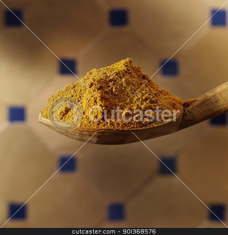 Chillie powder stock photo, Spoon with chillie powder by Han van Vonno