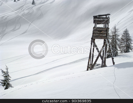 skiing in Wagrain stock photo, Winter scenery with ski slope in Wagrain (Austria) by prill