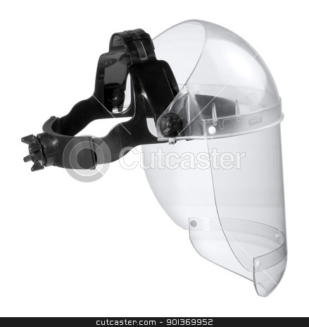 full face protective mask stock photo, studio photography of a face guard in white back by prill