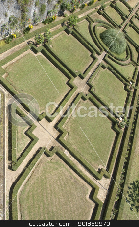 around Castle of Brolio stock photo, angle view showing a ornamental garden seen from Castle of Brolio near Gaiole in Chianti, located in the italian region Tuscany by prill
