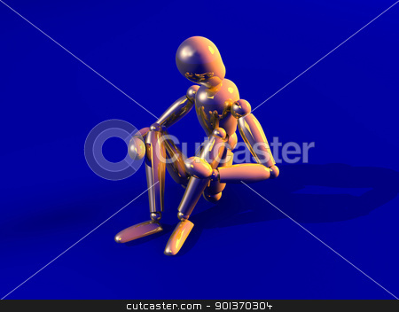 Depressed stock photo, 3D rendered image. Sitting in Depression.