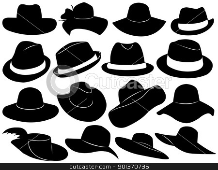 Hats illustration stock vector clipart, Hats illustration isolated on white by Ioana Martalogu