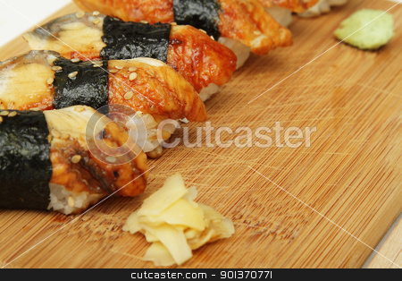 Eel sushi stock photo, Close up photo of broiled eel (unagi) sushi by Olena Pupirina