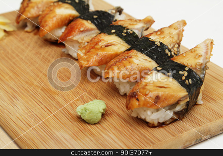 Eel sushi stock photo, Group of broiled eel (unagi) sushi by Olena Pupirina