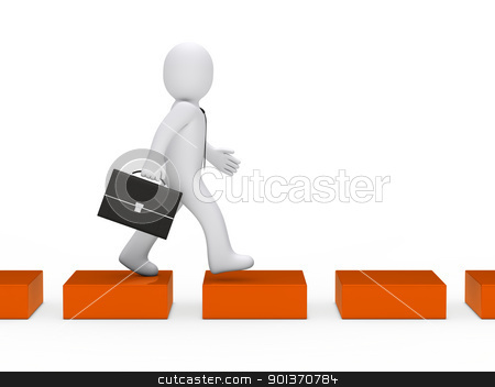 business man orange cube way stock photo, 3d business man going orange cube way by d3images