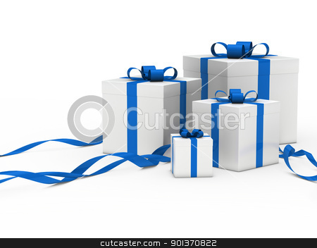 gift box white blue ribbon stock photo, 3d gift box white with blue ribbon by d3images