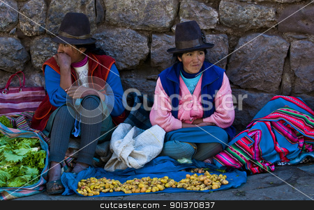 Peruvian women stock photo, Cusco , Peru - May 27 : Peruvian women in a market in Cusco Peru , May 27 2011 by Kobby Dagan