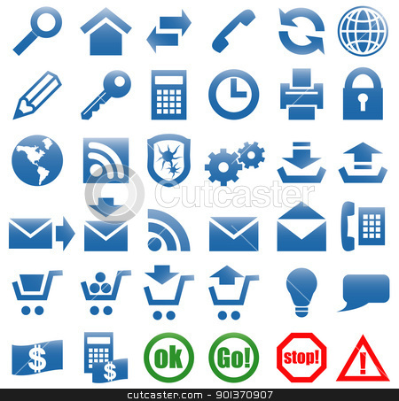 Icons for the web site Internet. stock vector clipart, Vector art in EPS format. All icons organized in layers for usability. 36 objects. by Borys Shevchuk