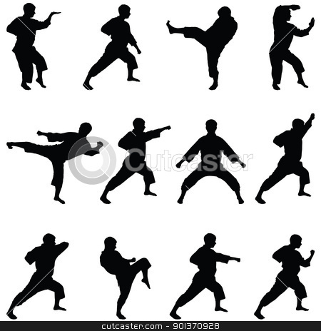 Silhouettes of positions of the karate. A collection. stock vector clipart, Silhouettes of positions of the karate. A collection. by Borys Shevchuk