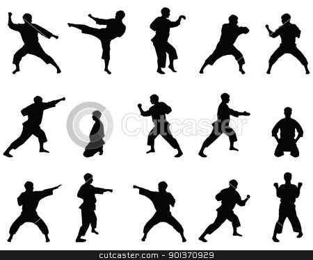 Silhouettes of positions of the karate. stock vector clipart, Silhouettes of positions of the karate. by Borys Shevchuk