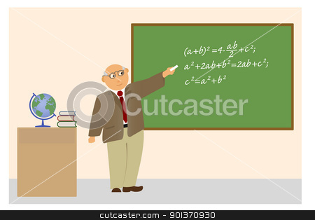 Teacher near blackboard writing formula. stock vector clipart, Teacher near blackboard writing formula. by Borys Shevchuk