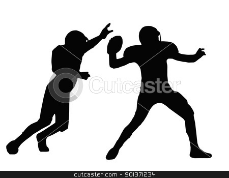 Silhouette American Football Quarterback and Defender  stock vector clipart, Silhouette American Football Quarterback Aiming to Throw with Defender Blocking by Snap2Art