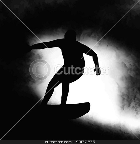 Silhouette Surfer Riding Wave  stock vector clipart, Silhouette Surfer Surfing Through a Wave Barrel in Soup by Snap2Art