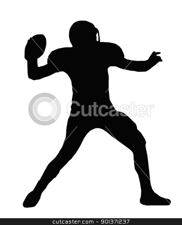 Silhouette American Football Quarterback Throw stock vector clipart, Silhouette American Football Quarterback Aiming to Throw Ball by Snap2Art