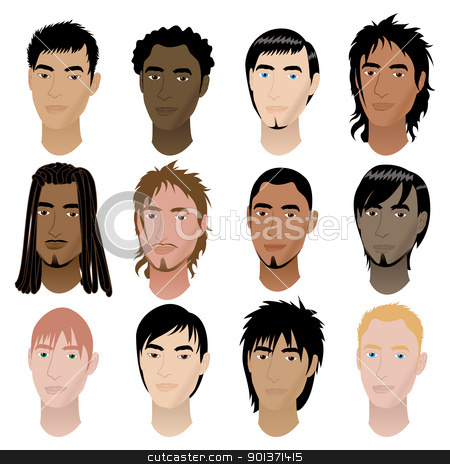 Mens Faces 6 stock vector clipart, Vector Illustration of 12 men faces. Men Faces #6. by Basheera Hassanali