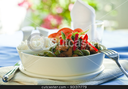 Moo Pad Prik King stock photo, Moo Pad Prik King - Fried Pork With Red Curry Paste by p.studio66