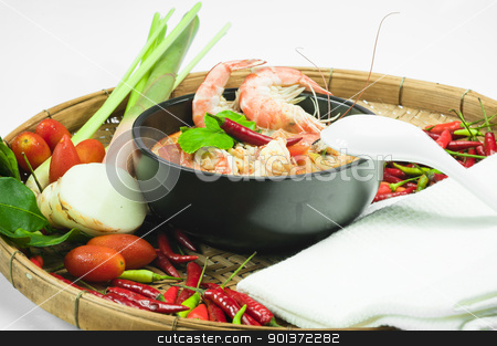 Tom Yum Goong  stock photo, Tom Yum Goong - Spicy Shrimp Soup by p.studio66