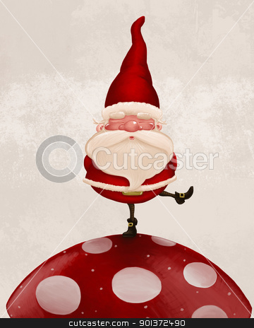 Santa Claus on fungus stock photo, Little Santa Claus on big red fungus by Giordano Aita