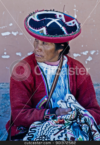 Peruvian woman stock photo, Cusco , Peru - May 27 : Peruvian woman in a market in Cusco Peru , May 27 2011 by Kobby Dagan