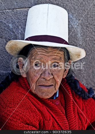 Peruvian woman stock photo, Cusco , Peru - May 27 : Portrait of Peruvian woman in Cusco Peru , May 27 2011 by Kobby Dagan