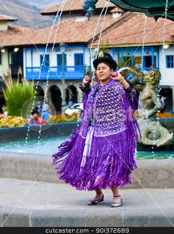 Peruvian dancer stock photo, Cusco , Peru - May 25  : Peruvian dancer with traditional clothes dancing in street in Cusco Peru on May 25 2011 by Kobby Dagan