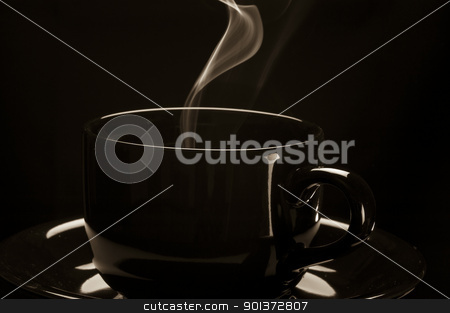 Black cup with a steaming content stock photo, Black cup with a steaming content by p.studio66