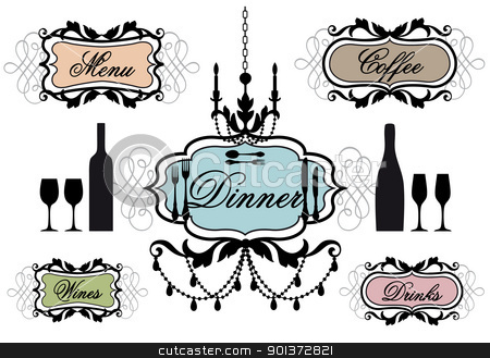 menu frames for restaurant, vector stock vector clipart, candlelight dinner frames for restaurant, vector set by Beata Kraus