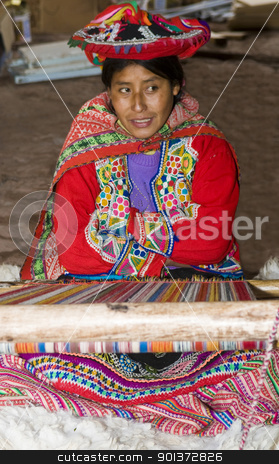 Peruvian woman weaving stock photo, Cusco , Peru - May 26 2011 : Quechua Indian woman weaving with strap loom by Kobby Dagan