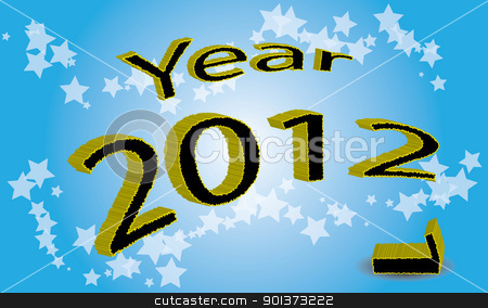 Year 2012 is coming stock vector clipart, Write the year 2012 in 3D design. The end of 2011 indicated an apostate digit. Shaded blue background with stars. by LiborF