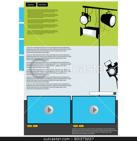 Visual art web page layout stock vector clipart, Visual art web page layout with preview screen by Richard Laschon