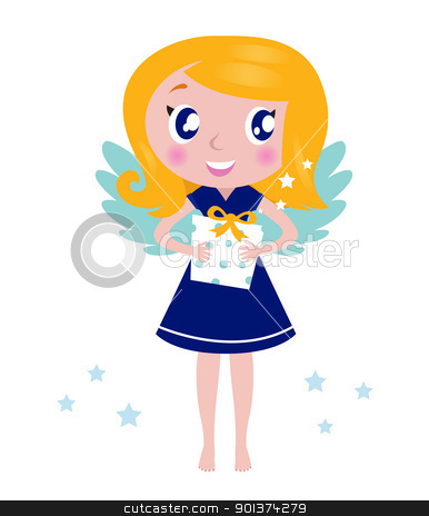 Happy little christmas angel Child with present isolated on whit stock vector clipart, Little cute blond angel child. Vector Illustration. by BEEANDGLOW