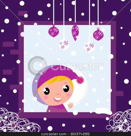 Cute little boy looking through Winter christmas Window  stock vector clipart, Little blond Boy looking on snowing. Vector cartoon Illustration.  by BEEANDGLOW