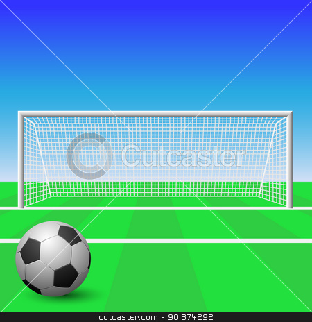 Soccer Goal stock vector clipart, A Soccer Goal with ball by Binkski Art