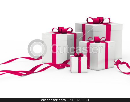 gift box white pink ribbon stock photo, 3d gift box white with pink ribbon by d3images