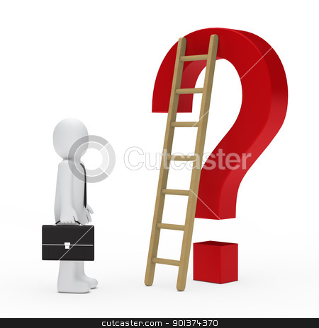 business man question mark stock photo, business man briefcase look question mark ladder by d3images