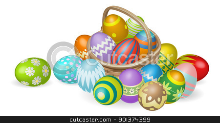 Painted Easter eggs in basket illustration stock vector clipart, Illustration of colourful painted Easter eggs in a wicker basket by Christos Georghiou