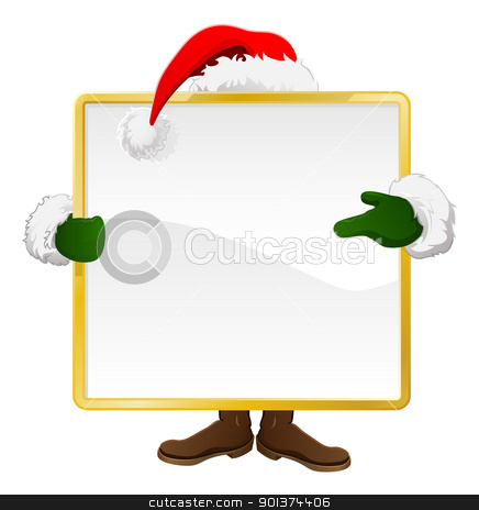 Santa behind Christmas sign stock vector clipart, Santa standing behind a Christmas sign and pointing at it by Christos Georghiou